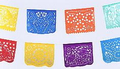 "plastic ""papel picado."" 18' long (each panel 18"" x 13"").  5.39 each/ 4.69 each (12 or more)"