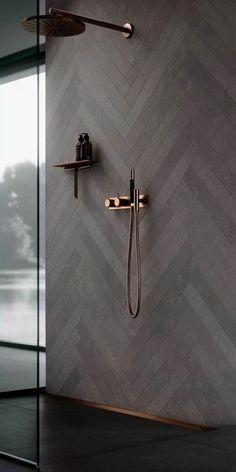 Copper bathroom fittings. Bathroom decor, ideas and inspiration. Shower interior design. #bathroom fittings