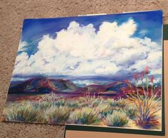 """ Clouds in Class"" a 9 x 12 pastel by Kathy Haynes of Marathon Texas done in a beginning pastel painting workshop. Wow!"