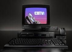 The complete Commodore CDTV set, front view by Piotr Zgodziński, via Behance