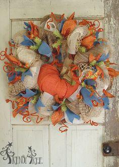 Wreath with Wooden Pumpkin Tutorial Autumn Pumpkin Wreath Tutorial - written instructions, images and a video at Trendy Tree! Autumn Pumpkin Wreath Tutorial - written instructions, images and a video at Trendy Tree! Thanksgiving Wreaths, Autumn Wreaths, Holiday Wreaths, Halloween Wreaths, Fall Halloween, Wreath Crafts, Diy Wreath, Wreath Making, Wreath Ideas