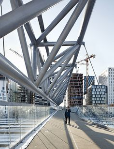 "Nordenga Bru, Bridge 306m, architecture, Norway, The city under construction:""Barcode Buildings"". Bjørvika, Oslo. Aas Jakobsen (RIB),"