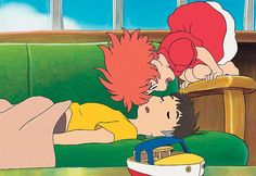 Ponyo loves Sosuke!!!! This is remind me so much of my 7 year old son and my 4 year old daughter - she's always waking him up like this! They both love Ponyo.