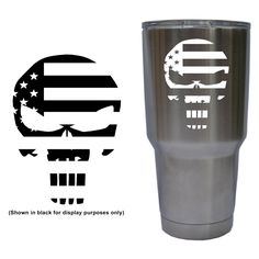Punisher Skull American Flag Military Decal for YETI 30 oz Rambler Tumbler Cup (DECAL ONLY) Glossy Permanent Vinyl. Purchase this product along with all of our other spectacular decals through one of the following links: https://www.etsy.com/shop/MiaBellaDesignsWI http://www.amazon.com/s?marketplaceID=ATVPDKIKX0DER&me=A2MSEOIVL689S1&merchant=A2MSEOIVL689S1&redirect=true