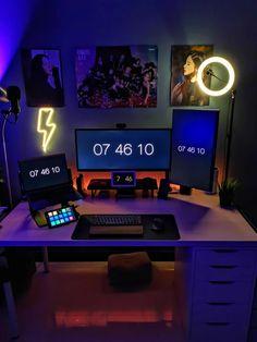 Computer Desk Setup, Gaming Room Setup, Pc Setup, Gaming Rooms, Home Office Setup, Office Desk, Hobby Desk, Bedroom Setup, Game Room Design
