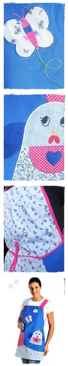"Detalles de la Estola Azul Patchwork ""Mariposa"""