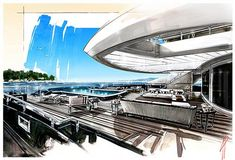 Interior Watercolor Painting Yacht