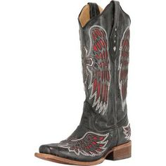 Shop Women's Corral Black Red & Silver Wings & Cross Cowgirl Boots