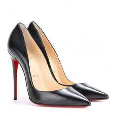 Christian Louboutin So Kate 120 Leather Pumps (1,150 BAM) ❤ liked on Polyvore featuring shoes, pumps, heels, scarpin, black, black shoes, christian louboutin shoes, black pumps, christian louboutin and black leather shoes