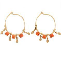 Coral hoops (Stephanie Jewels) shop them on Les trouvailles d'Elsa.fr