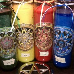 The Wicca Collectionary Elemental Candles Pagan Altar, Wiccan, Magick, Witchcraft, Pagan Witch, Witches, Victorian Goth, Gothic, Medieval Wedding