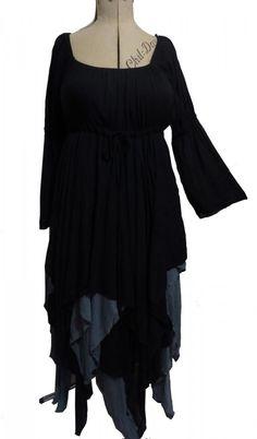 Stunning Gothic Fairy Fantasy Chiffon Dress Black Grey | Swirl | I Am Attitude