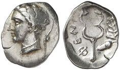 ARKADIA, Pheneos. Circa first or early 2nd quarter of the 4th century. Obol (Silver, 0.91 g 12). Head of youthful Hermes to left, with his petasos hanging behind from a cord around his neck. Rev. ΦΕΝΙ Upright kerykeion; to right, acorn and oak leaf.