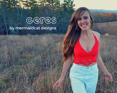 Crochet crop top halter pattern - Ceres