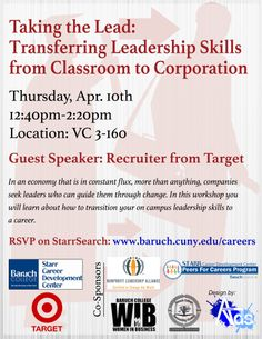 Transferring Leadershipskills From Classroom to Corporation.