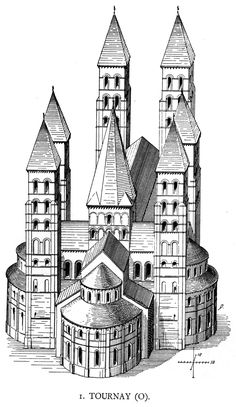 Our Lady Cathedral of Tournai (Doornik) Belgium. Reconstruction.