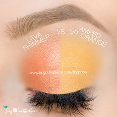 Amped Up Orange and Lava Shimmer ShadowSense side by side comparison.  These long-lasting SeneGence eyeshadows help create envious eye looks.  #eyeshadow #shadowsense