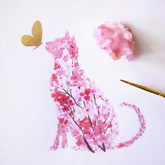 I Watercolor Cherry Blossom Animals