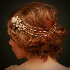 Bridal Halo Headband on Etsy. I like the idea of the halo resting more around the back of the head than the front.