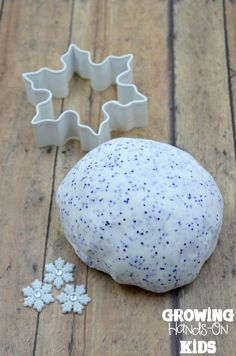 Sparkly winter two ingredient play dough recipe.