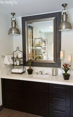 HGTV Dream Home master bathroom, love the heavy pendants for a guest bathroom. Bad Inspiration, Bathroom Inspiration, Bathroom Ideas, Hall Bathroom, Master Bathrooms, Bathroom Vanity Decor, Bathroom Drawers, Shower Bathroom, Basement Bathroom