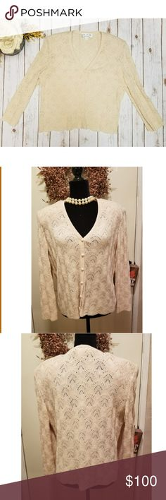 🎉Vintage St. John by Marie Gray Ivory Sweater🎉 This classic piece is perfect for your wardrobe St John collection by Marie Gray  Size L Vintage Buttons up the front Has two shoulder pads (not super thick, just gives sweater better shape) Ivory cream color Lovely detail There is no tag saying what material it is but I'm going to say it's an acrylic blend. Intricate detail (threading almost looks silk like) Unique piece  No tears or stains Smoke free home St. John Collection Sweaters