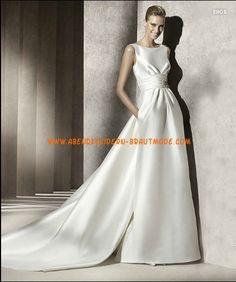 Rckenfreies Brautkleid 2012 Bestverkauft aus Satin mit Schleppe V-Rcken