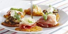 Rösti bruschetta style. Voor het hele #aardappelrecept kijk op onze website #Aviko #inspiratie #rösti