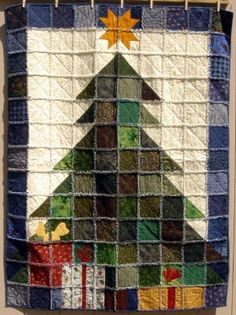 This is a Christmas Tree Rag Quilt... rag quilts are very easy to make and use up a lot of scraps of fabric you might have around. I'm going to try this very soon.