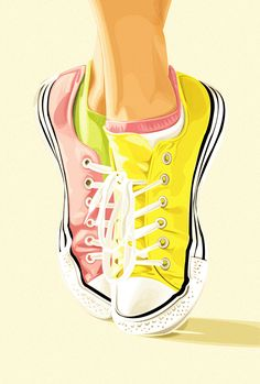 Converse by Yasmina Hussien Fashion Art, Fashion Shoes, Shoe Art, Painted Shoes, Chuck Taylor Sneakers, Fashion Sketches, Converse Shoes, Designer Shoes, Watercolor Art