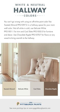 Classic White Paint Colors for Hallways. You can't go wrong with using an off-white paint color like Toasted Almond by PPG Pittsburgh Paints, in a hallway space for your main wall color.