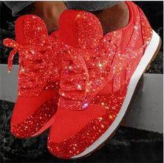 New Designer Korean White Platform Sneakers Casual Shoes Women 2020 Fashion SpringTenis Feminino Woman Footwear Basket Femme – fashion Sparkly Wedding Shoes, Sparkly Shoes, Glitter Shoes, Sequin Shoes, White Shoes, Red Sneakers, Casual Sneakers, Casual Shoes, Women's Sneakers