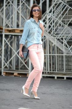With denim shirt, metallic shoes and clutch