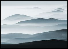 Poster with a beautiful nature photo of mountains in fog. Pretty and peaceful photo art in lovely blue-grey shades that bring peace. A poster that looks nice on a picture wall or by itself and it also fits well with many different decorating styles. Combine after your own taste and select motifs that will fit your interior design. www.desenio.co.uk