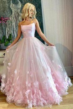 Light Pink Spaghetti Straps Long Prom Dresses, 3D Flowers Evening Dresses OKQ85 – Okdresses Straps Prom Dresses, Pink Prom Dresses, Prom Party Dresses, Pageant Dresses, Dance Dresses, Ball Dresses, Ball Gowns, Best Prom Dresses, Awesome Dresses