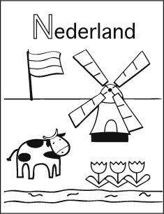 Alfabet kleurplaat N van Nederland