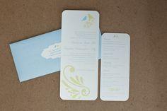 Yellow and Blue Wedding Invitation; Love Birds Wedding Invitation  www.significantlysaid.com
