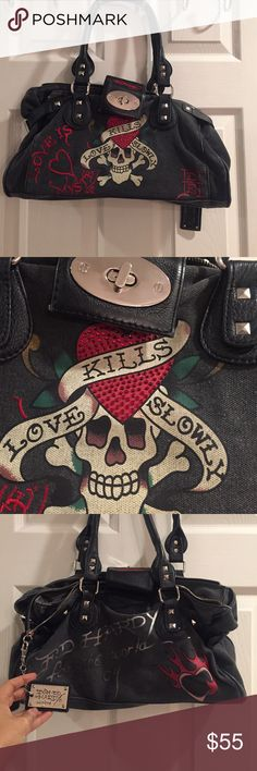 Ed Hardy Love Kills Slowly purse Well loved, but still in great condition. Inside is a little dirty. Zip closure. Ed Hardy Bags Shoulder Bags