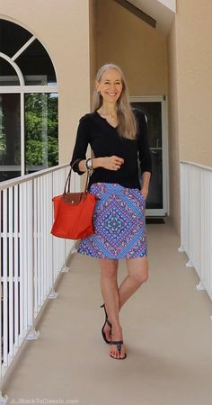 Classic-Fashion-Over-50-Talbots-Splitneck-Top-Longchamp-Tote-Janis-Lyn-Johnson