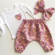 Floral Harem Set - Two Little Stars Little Star, Boho Shorts, Kids Outfits, Rompers, Stars, Floral, Handmade, Clothes, Dresses