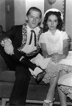Jerry Lee Lewis with Myra Gail Brown. She looks a bit young. Oh yeah it's his 13 year old cousin