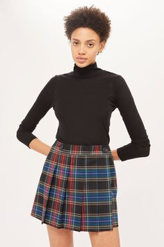 College Check Kilt Skater Skirt