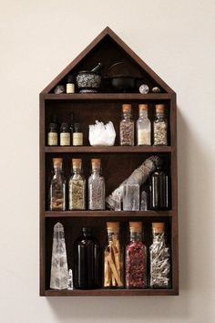 Please allow up to 7 business days for your House of Apothecary Set to leave the studio. The Stone & Violet House of Apothecary Shelf! Handmade Home Decor, Diy Home Decor, Room Decor, Handmade Pottery, Wiccan Decor, Spiritual Decor, Witch Room, Witch House, Kitchen Witch