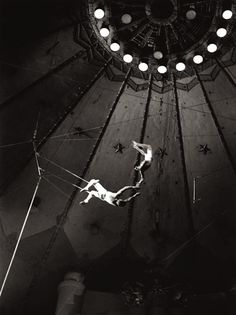 Trapecio | big top | circus | trapeze | flying | swing | fly | float | nets | black & white | jump | trust | perform | performing arts | performers