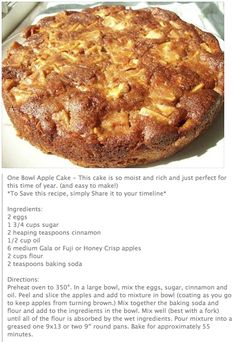 One Bowl Apple Cake... Icing: 1 cup brown sugar/1/2 cup butter/1/4 cup milk/ tsp vanilla......cook pour over cooled cake! YUMMMMM