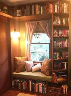 Fabulous home libraries showcasing window seat. - - Fabulous home libraries showcasing window seat. Storage Ideas Fabulous home libraries showcasing window seat. Book Nooks, Reading Nooks, Cozy Reading Rooms, Girl Reading, Home And Deco, My New Room, My Dream Home, Sweet Home, New Homes