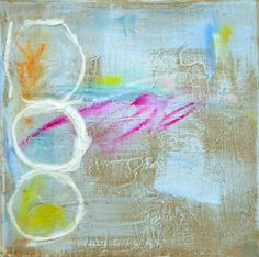 """This is an 8""""x8"""" gallery wrapped canvas from my """"Circle Series"""" and painted with acrylic, watercolor crayon and paper. It is painted on all sides and ready to hang."""