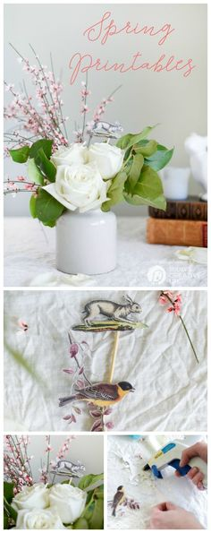 Easter Printables for Spring Bouquets   Spring decorating made easy! Use your Cricut Explore to make it more creative. Easy home decorating ideas for DIY spring decorating. Click the photo for your free printable. Today's Creative Life