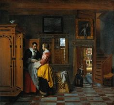 Comparing Pieter de Hooch with Johannes Vermeer seems inevitable. They were contemporaries (De Hooch lived from 1629 to Vermeer from. Johannes Vermeer, Delft, Pieter De Hooch, Kunsthistorisches Museum, Linen Cupboard, Dutch Golden Age, Dutch Painters, Dutch Artists, Museum Of Fine Arts