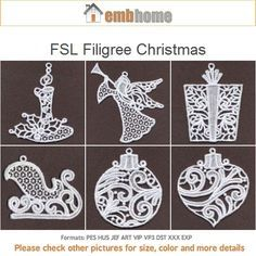 FSL Filigree Christmas Ornament Free Standing Lace Machine Embroidery Designs Instant Download 4x4 hoop 15 designs APE1871